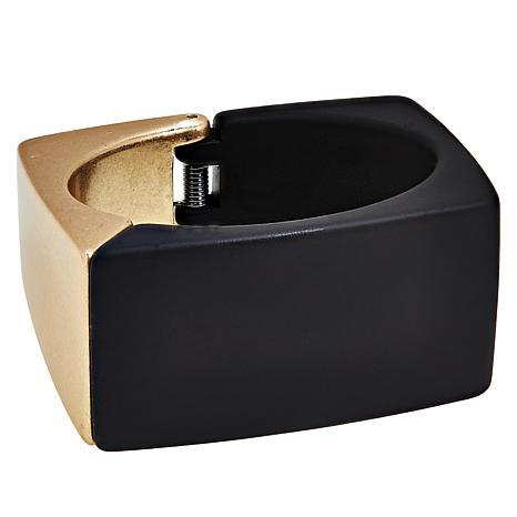 MarlaWynne 2-Tone Square Hinged Bangle Bracelet