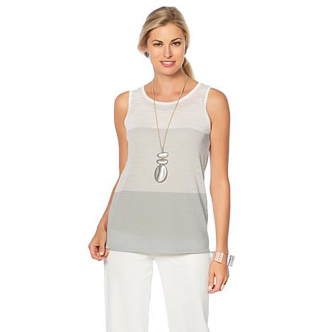 MarlaWynne Colorblock Lightweight Knit Tank with Camisole