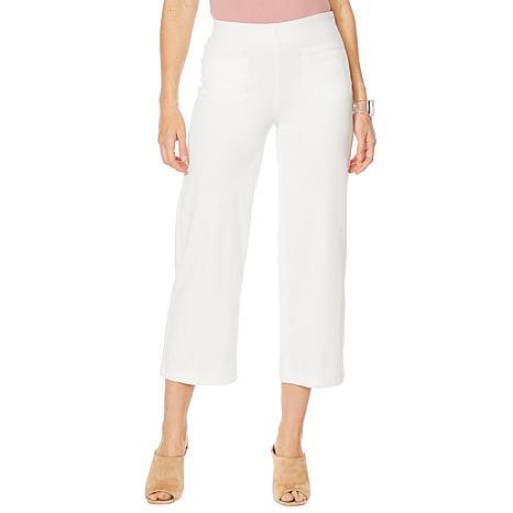 MarlaWynne Knit Denim Straight Leg Cropped Pant