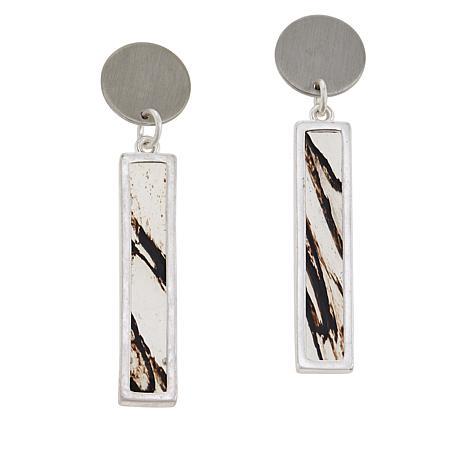 MarlaWynne Marble-Look Inset Stone Drop Earrings