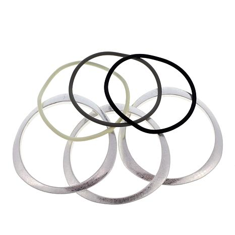 MarlaWynne Metaltone and Rubber Set of 6 Bangle Bracelets