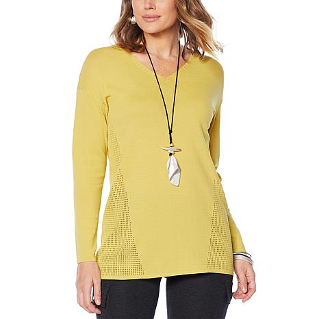 MarlaWynne Perforated Stitch Boxed Tunic Sweater