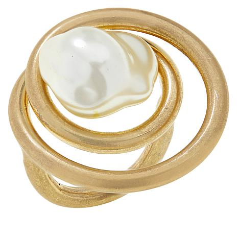 MarlaWynne Simulated Pearl Spiral Novelty Ring