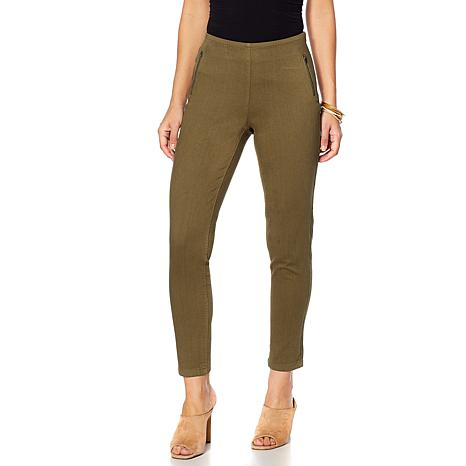 MarlaWynne Washed Twill Skinny Pant with Zipper