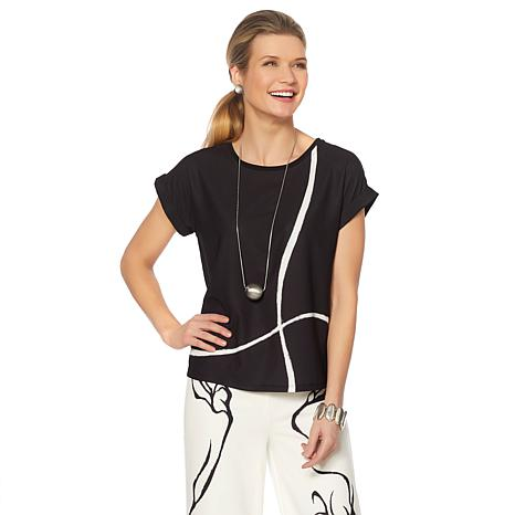 MarlayWynne Mixed Media Graphic Print Top