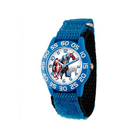 Marvel Captain America Kid's Time-Teacher Watch w/Black and Blue Strap