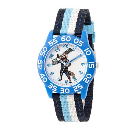 Marvel Rocket Raccoon Kid's Time-Teacher Watch with Blue Stripe Strap