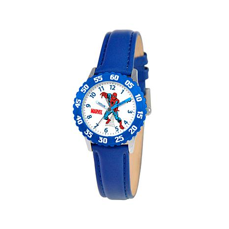 Marvel Spider-Man Kid's Time-Teacher Blue Dial Watch w/Leather Strap