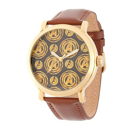 Marvel's Avengers Goldtone Brown Leather Strap Watch
