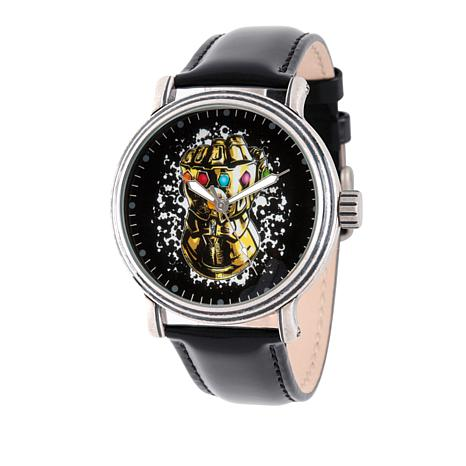 "Marvel's Avengers ""Infinity Gauntlet"" Silvertone Black Strap Watch"