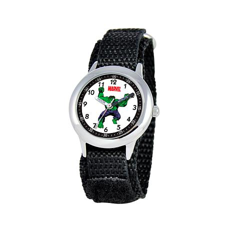Marvel's Hulk Kid's Time-Teacher Black Strap Bracelet Watch