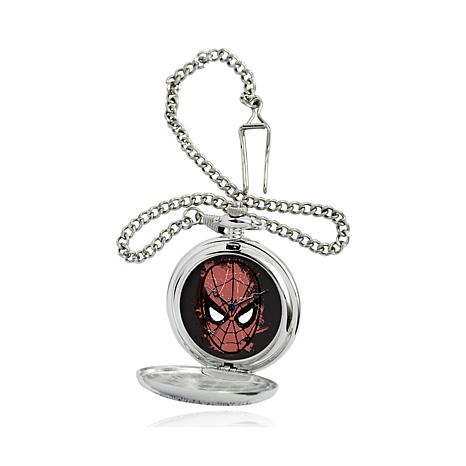 Marvel's Spinder-Man Silvertone Pocket Watch