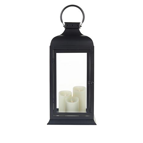 "Matchless 21"" Lantern with Moving Flame LED Candles and Remote"