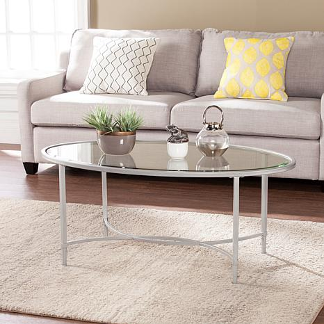 Melinda Metal/Glass Oval Cocktail Table - Silver