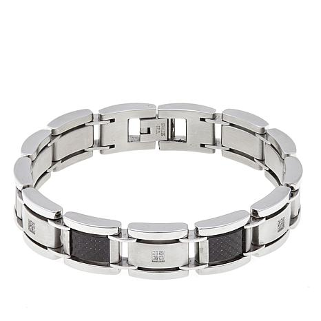 Men S 0 1ctw Diamond Accented Stainless Steel Bracelet