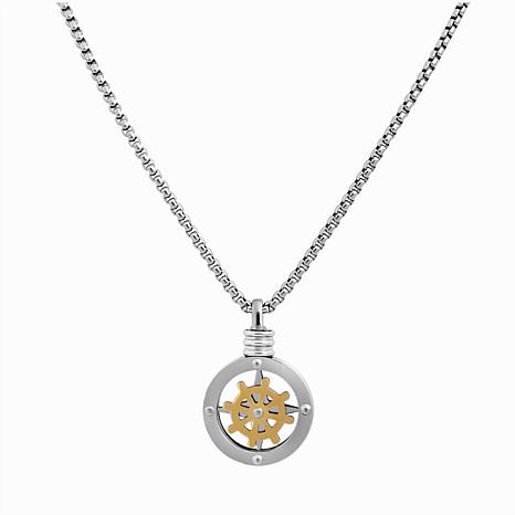 """Men's 24"""" Two-Tone Stainless Steel Ship Wheel Compass Pendant Necklace"""