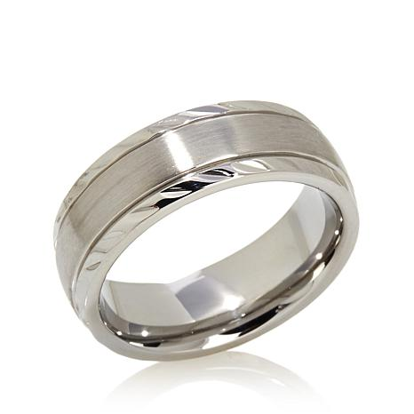 Men's 7mm Brushed and Diamond-Cut Steel Band Ring