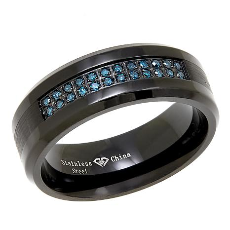 Men's Black Stainless Steel Blue Diamond-Accented 8mm Wedding Band