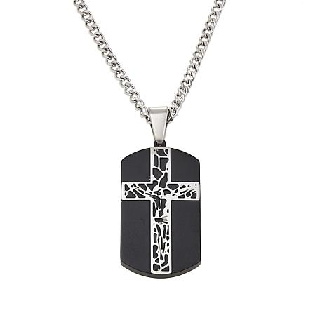 "Men's Black Stainless Steel Crucifix Dog Tag Pendant with 24"" Chain"