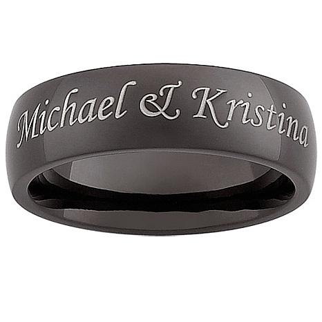 Men's Black Stainless Steel Engraved Band