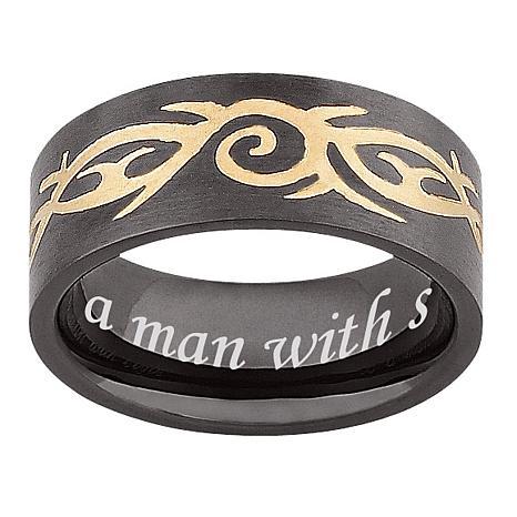 Men's Black Stainless Steel Engraved Tribal Band Ring