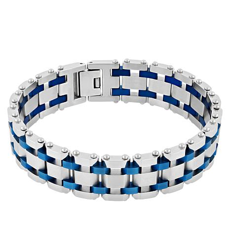 Men's Blue Stainless Steel Classic Link Bracelet
