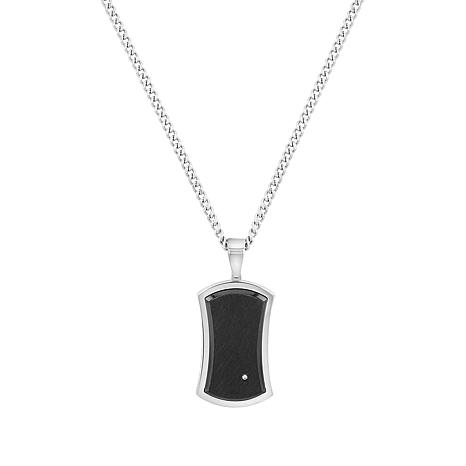 Men's Diamond-Accented Black Stainless Steel Dog Tag Necklace
