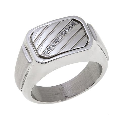 "Men's Diamond-Accented Stainless Steel ""Dad"" Flip Ring"