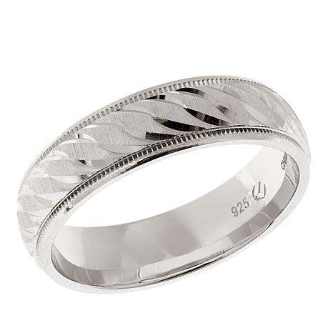 Men's Diamond-Cut and Milgrain 6mm Swirled Band Ring