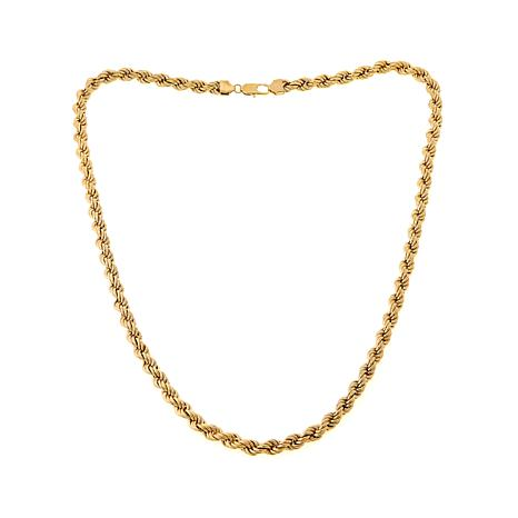 Men's Goldtone Stainless Steel Rope Chain Necklace