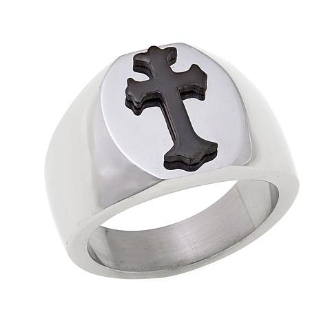 Men's Stainless Steel Black Cross Signet Ring
