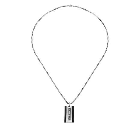 Men's Stainless Steel Black Frame Greek Key Pendant Necklace