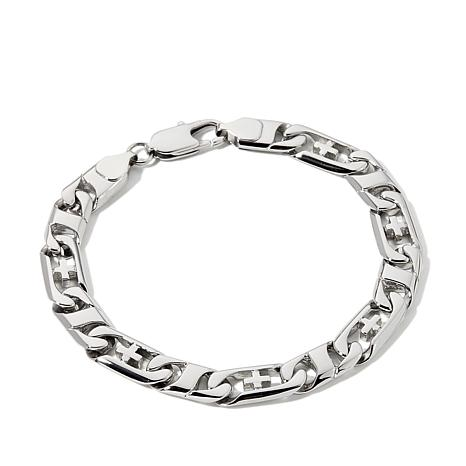 "Men's Stainless Steel Cross Link 8-1/2"" Bracelet"