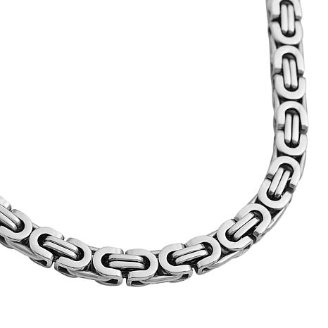 Men's Stainless Steel Square Byzantine Chain