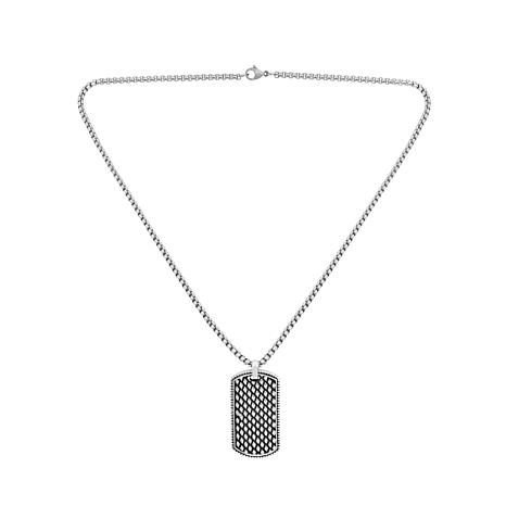Men's Stainless Steel Textured Dog Tag Pendant with Chain Necklace
