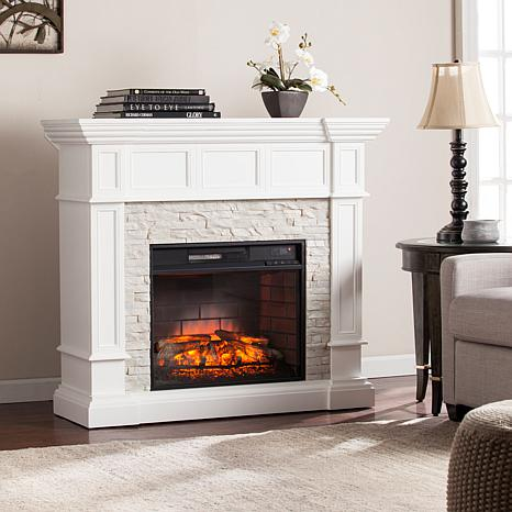 Shop Merrimack Corner Convertible Infrared Electric Fireplace - White with White Faux Stone 8225139