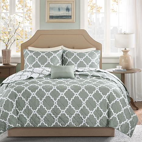 Madison Park Essentials Merritt King Cal 4 Piece Coverlet Set Gray