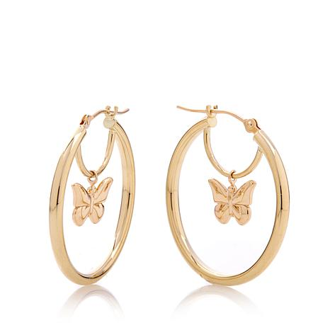 Michael Anthony 10K Gold Butterfly Charm Drop Hoops