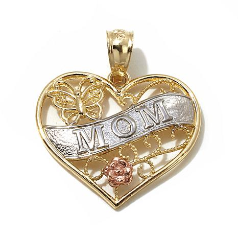 Michael Anthony® 10K Tritone Scrolled Mom Heart Pendant