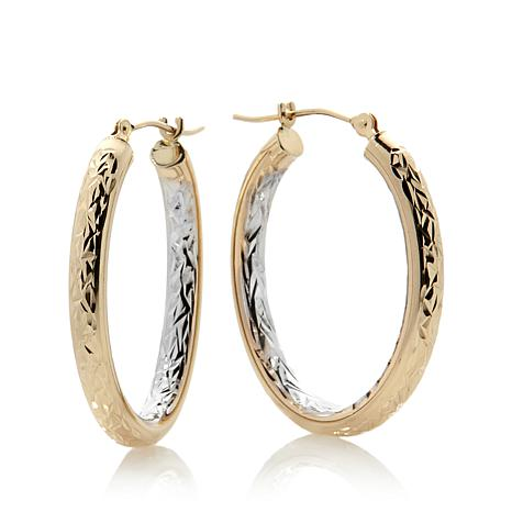 Michael Anthony 2 Tone 10k Gold Diamond Cut Oval Hoops