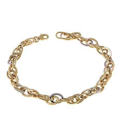 Michael Anthony Jewelry® 10K 2-Tone Interlocking Oval Link Bracelet