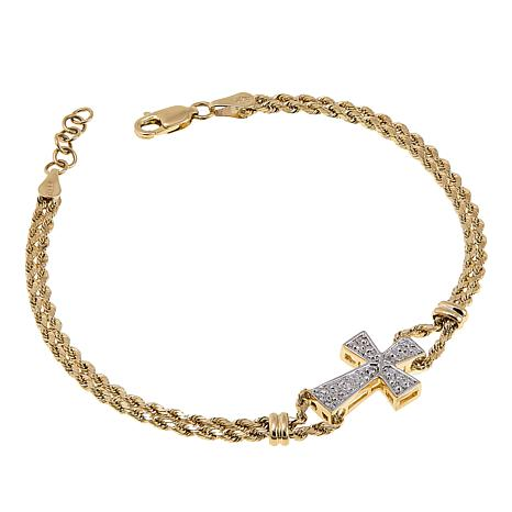 "Michael Anthony Jewelry® 10K Cross Rope Chain 7-1/2"" Bracelet"