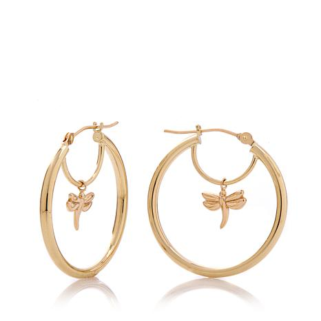"Michael Anthony Jewelry® 10K ""Dragonfly"" Hoop Earrings"