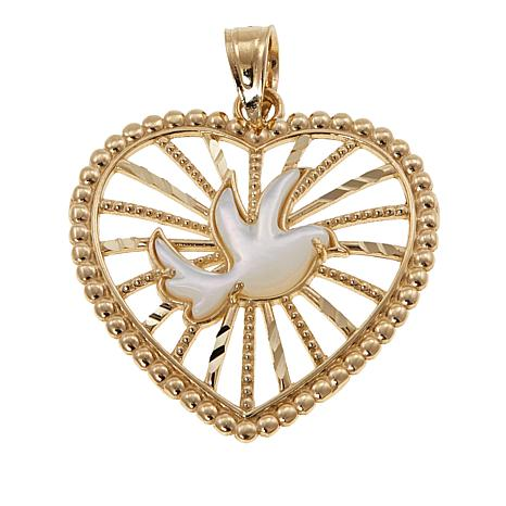 Michael Anthony Jewelry® 10K Mother-of-Pearl Dove in Heart Pendant