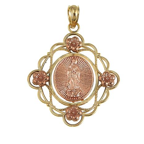 Michael Anthony Jewelry® 10K Two-Tone Virgin Mary Pendant