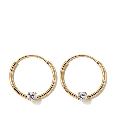 Michael Anthony Jewelry 14k Kids 12mm Yellow Gold Cz Hoop Earrings