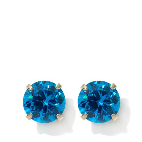 stones silver stud topaz blue sapphire item jewelry round christmas women dark color free cz earring gift light box for