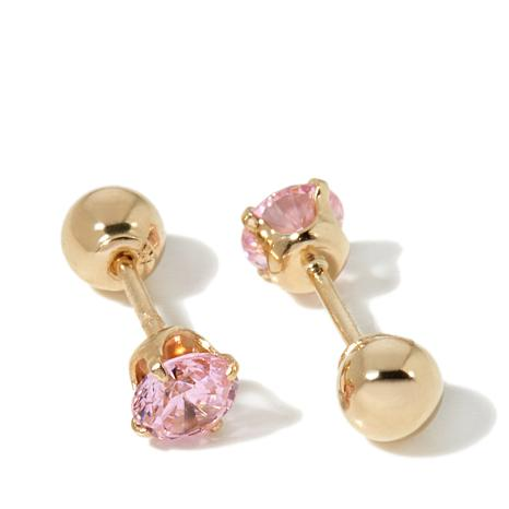 Michael Anthony Jewelry 14k Kids Pink Cz Ball Stud Earrings