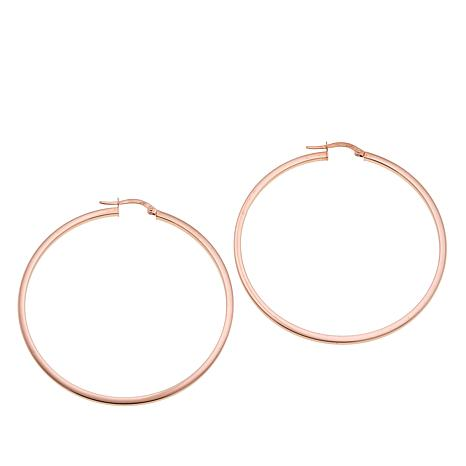Michael Anthony Jewelry® 14K Rose Gold Square Tube Hoop Earrings