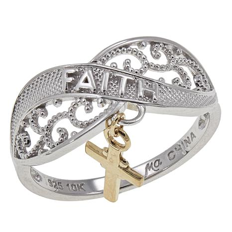"Michael Anthony Jewelry® 2-Tone ""Faith"" Ring with 10K Cross Charm"